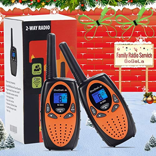 Bobela Camping and Cruise Ship Accessories, Handheld Walky Talky with Belt Clip for Adults,Easy to Use Walkie Talkies for Family Travel Trip(M880 Orange,2 Pack)
