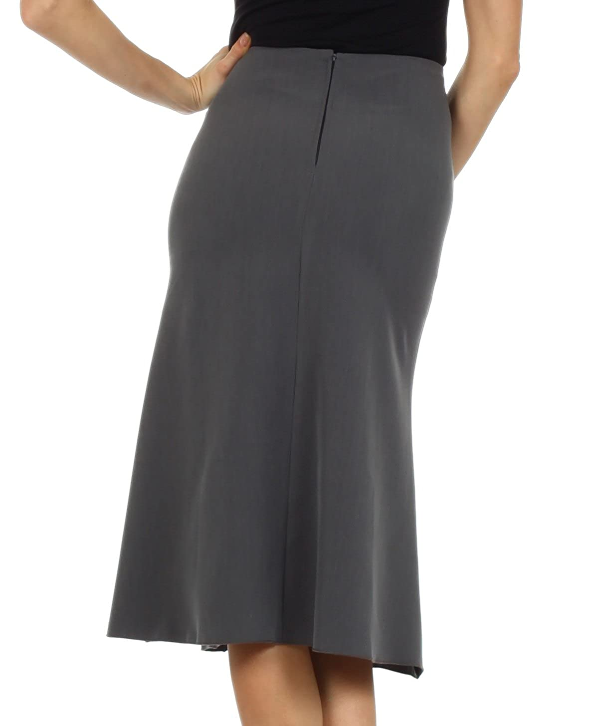Knee Length Flared Skirt with Seaming and Belt Detail