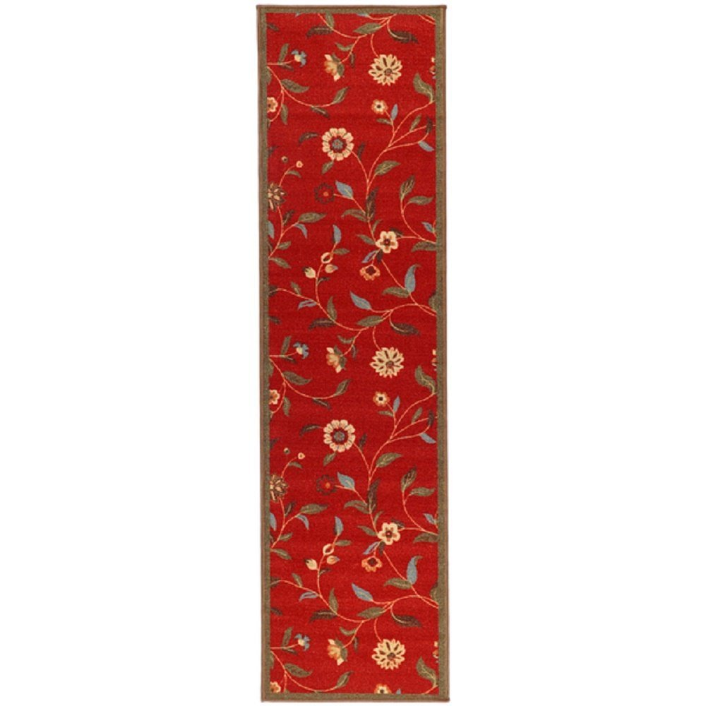 HandTufted Red Floral Runner Rug, Country Traditional, Gorgeous Flowers Pattern, Royal Oriental Hand Work Design, Red Blue Green