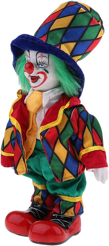 Funny Clown Porcelain Doll in Colorful Costume Christmas Gift Decoration #1