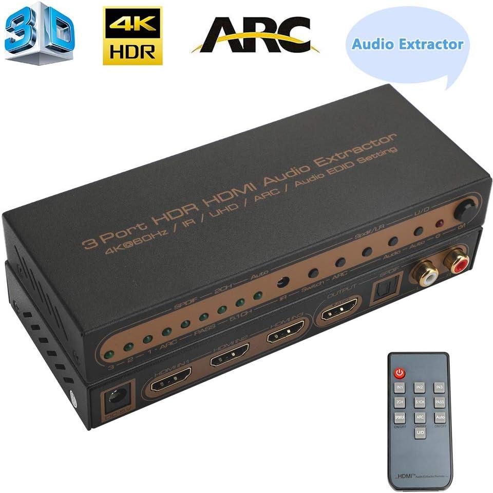 Audio Extractor HDMI Matrix 3x1 HDMI Switcher 3 Entrada 1 Salidas Soporte 4K x 2k 60Hz YcbCr4:4:4 IR UHD ARC EDID Audio 2.0/5.1/Pass Toslink Audio Coaxial + SPDIF AC3 DTS LPCM 2.0: Amazon.es: Electrónica