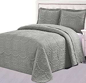 Bedspread Set (Queen, Charcoal grey) - 3 Piece Luxurious Soft Brushed Microfiber Coverlet set - Quilted Embroidery Over sized Bed-Cover by Utopia Bedding