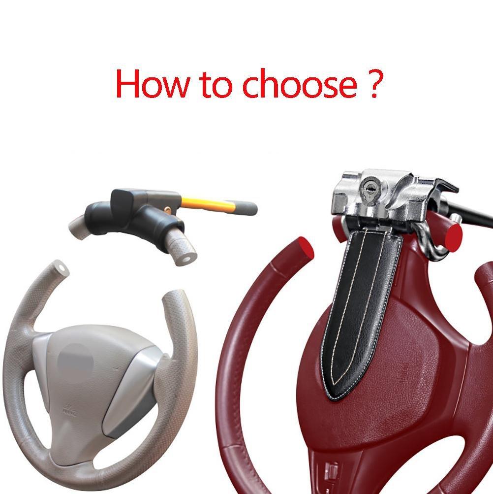 Black LIYUU Universal Car Steering Wheel Lock Car Anti-Theft Security Lock-Foldable