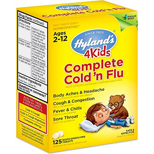 Hyland's, 4Kids Complete Cold 'n Flu, Ages 2-12, 125 Quick-Dissolving Tablets - 2pc
