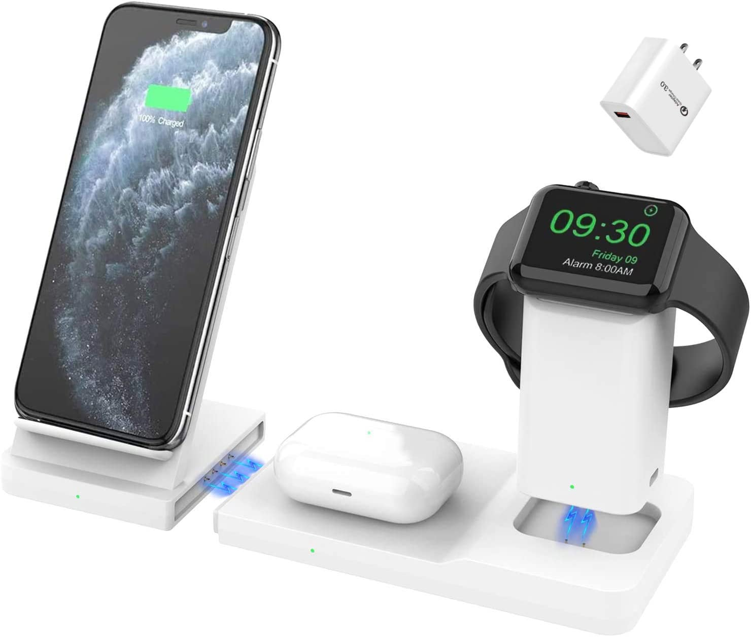 Hoidokly Wireless Charger Fast 3 in 1 Charging Station Dock for Apple Watch AirPods Pro/2, Detachable and Magnetic 7.5W Qi Charging Stand for iPhone 11 Pro Max/SE 2/XR/XS/X/8 Plus White(with Adapter)