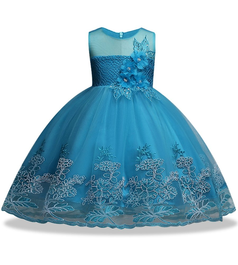 Little Girl Wearing Summer Holiday Party Size 3 Sleeveless Flower Girl Blush Blue Dress for Girl Wedding Party Long Tail Dress 3-4 Years (Blue 150)