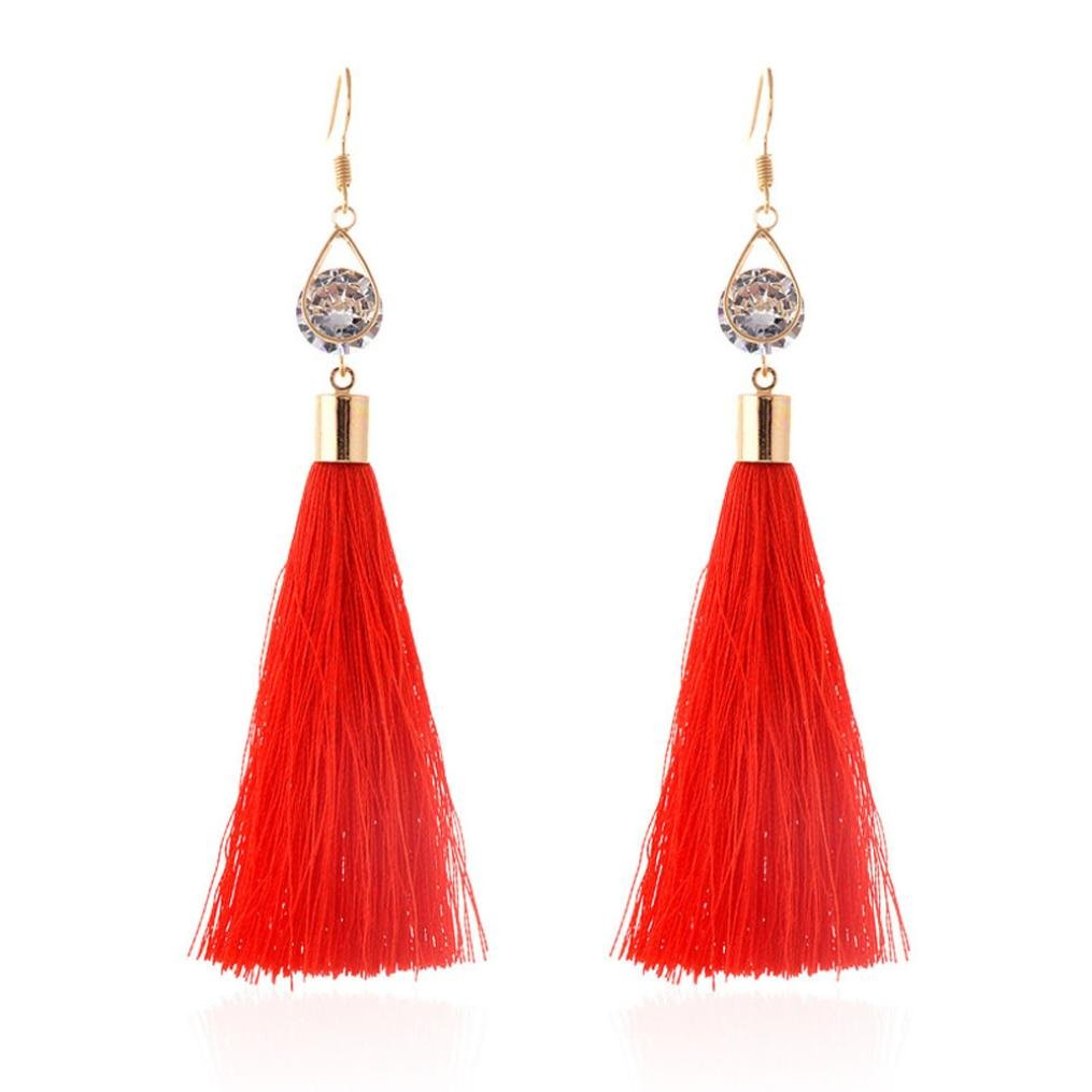 Minshao Bohemian Women Fashion Woolen Tassels Earring Gorgeous Jewelr (Black)