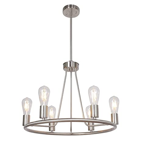 Bonlicht Contemporary 6 Light Round Chandelier Brushed Nickel Kitchen Island Farmhouse Living Room Dining Room Metal Light Fixtures Ceiling Mid