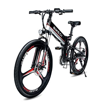 MERRYHE Bicicletas eléctricas Plegables Bicicleta de montaña Unisex Bicicleta de Carretera de City City Student 26 Pulgadas de Rueda Total,Black-48V10ah: ...