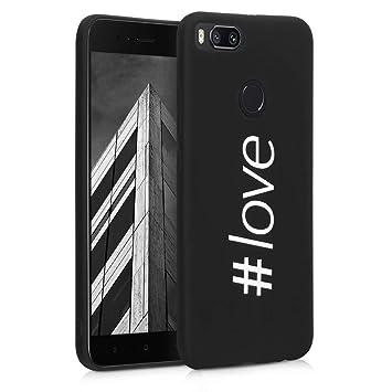 kwmobile Funda para Xiaomi Mi 5X / Mi A1 - Carcasa de [TPU] para móvil y diseño Hashtag Love en [Blanco/Negro]