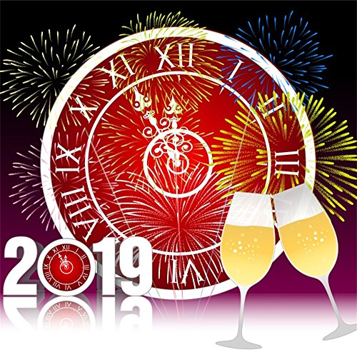 Laeacco New Year Theme Backdrop 6.5x6.5ft Vinyl Photography Background 2019 Clock Red Clockwork Dial Champagne Colorful Fireworks Kids Baby Adult Friends Gathering Party Shoot Banner Indoor Decors ()