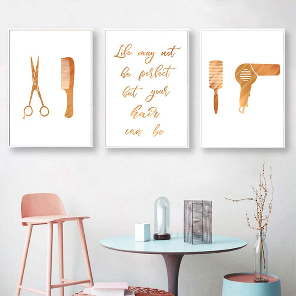 Beauty Salon Wall Art Glam Posters Trendy Artwork Hair Salon Pictures Barbershop Art Hairdresser Wall Decor Haircut Tools Wall Art Cosmetic Canvas Art Painting Gifts for Hair Stylists Woman Unframed