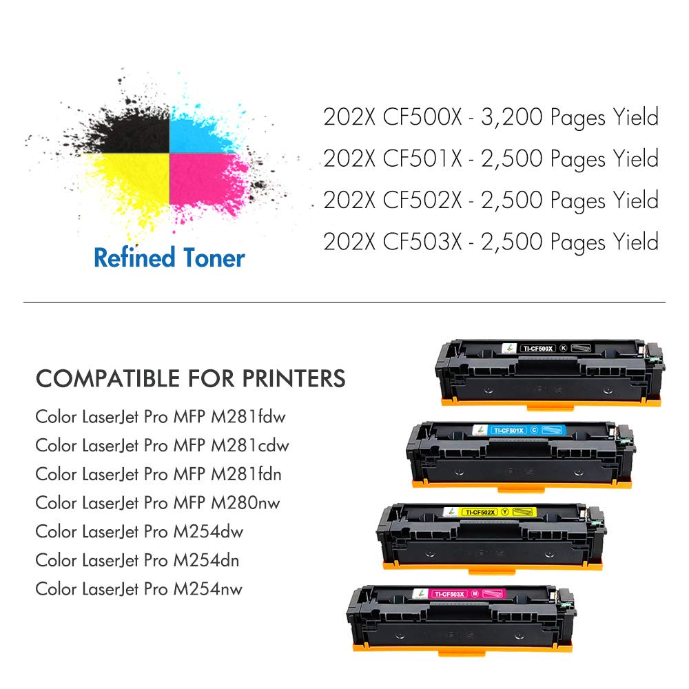 True Image Compatible Toner Cartridge Replacement for HP 202X CF500X CF500A  202A HP M281fdw M254dw Toner HP Color Laserjet Pro MFP M281fdw M281cdw