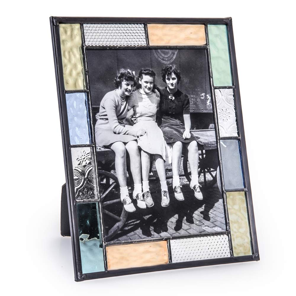 J Devlin Pic 412-57HV 5x7 Colorful Stained Glass Picture Frame Blue Green Aquamarine Peach Pastel Spring Summer Home Decor Easel Back Photo Frame