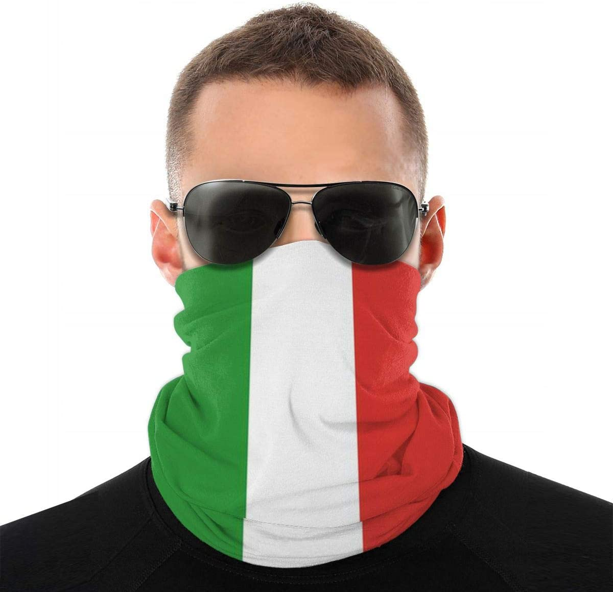 Valentine 2020 Italian Flag for UV Sun Mask Dust Wind Neck Gaiter,Unisex Seamless Rave Bandana Neck Gaiter Tube Headwear Bandana, Motorcycle Face Bandana for Women Men Face Scarf
