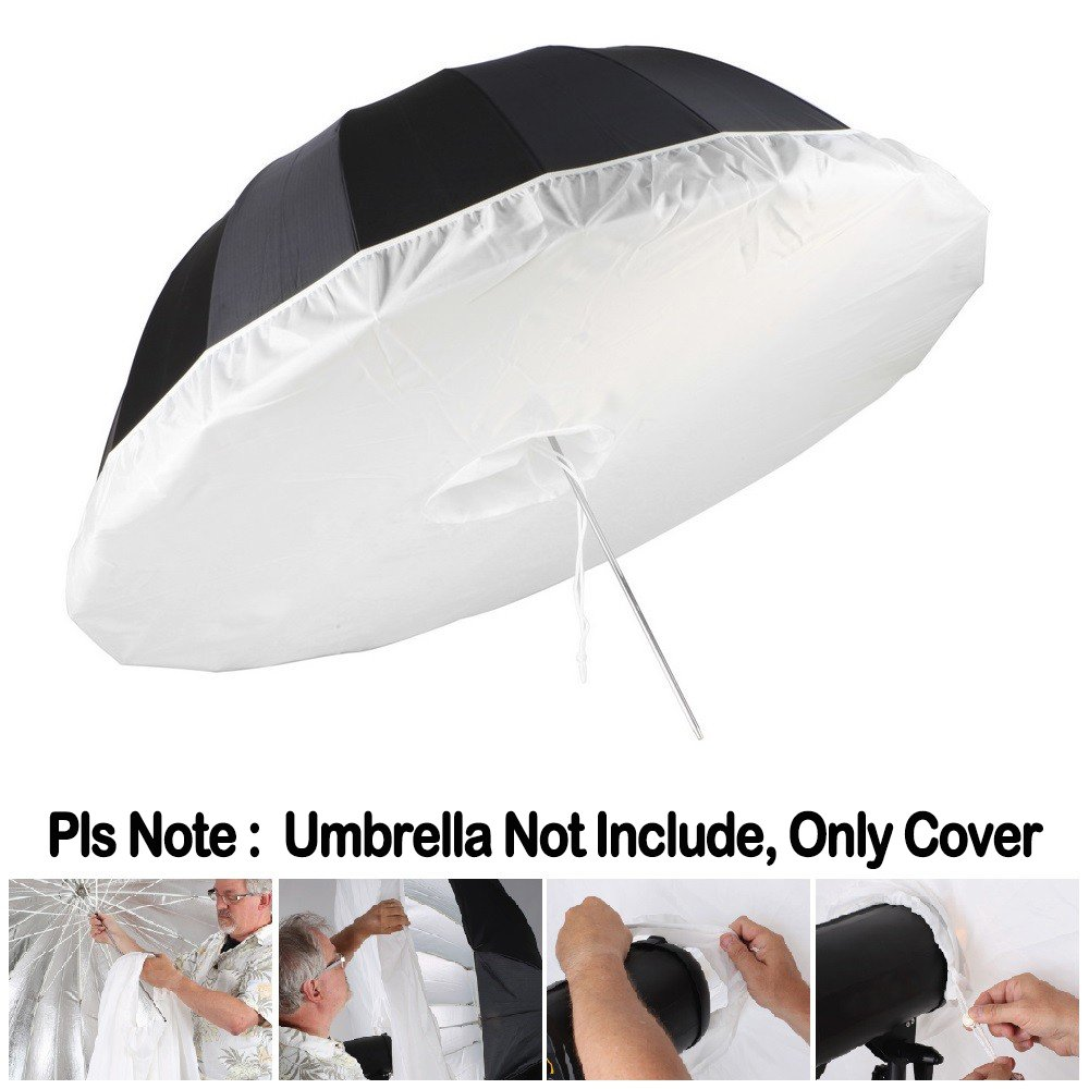Selens 65 Inch/5.4'' Photo Studio Diffusion Parabolic Umbrella Front Diffuser Cover for Black Reflective Parabolic Umbrella, White