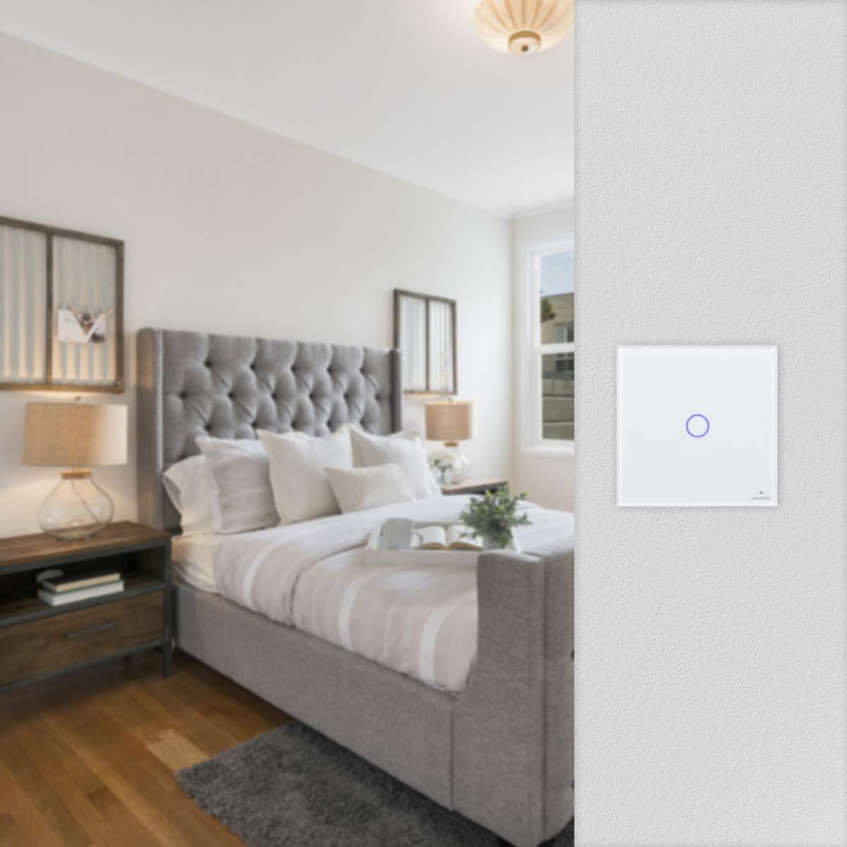 Interrupteur Mural Radio 433.92 MHz pour Lampe Navaris Interrupteur Sans Fil Tactile Interrupteur /à Distance avec Eclairage LED Noir