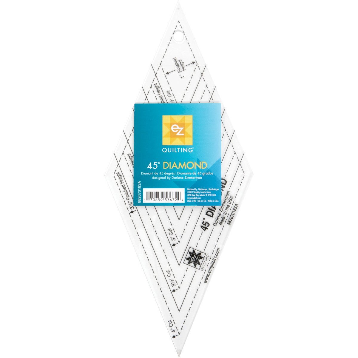 EZ Quilting 45° Diamond Acrylic Template Simplicity 670183A