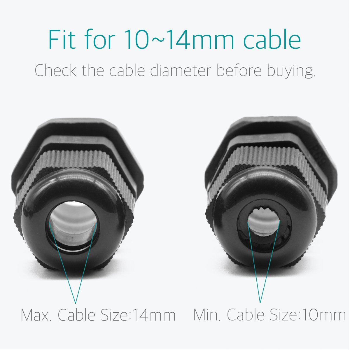 Lantee PG 16 Cable Gland - 20 Pieces Black Plastic Nylon Waterproof Wire Glands Connector Fitting by Lantee (Image #3)