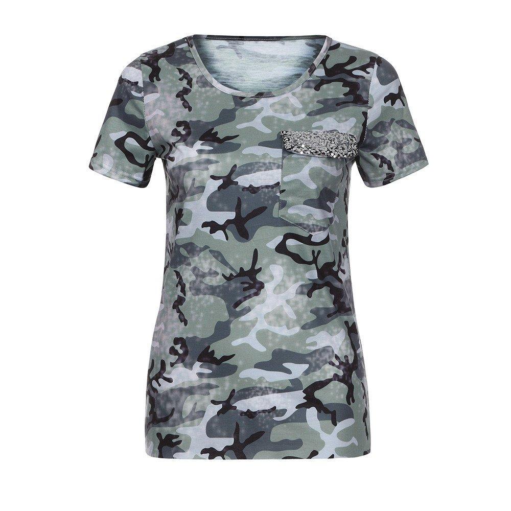 8d7de0ee0e82 Amazon.com: Wensy Women Camouflage Pocket Sequin Short Sleeve T-Shirt, 4  Colour Available O-Neck Shirt: Clothing