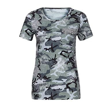 59b0a1781474 Wensy Women Camouflage Pocket Sequin Short Sleeve T-Shirt, 4 Colour  Available O-