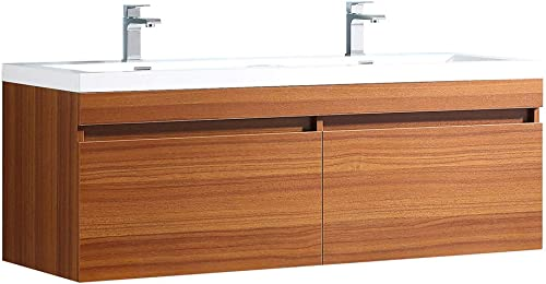 Fresca Largo 57 Teak Modern Double Sink Bathroom Cabinet w Integrated Sinks