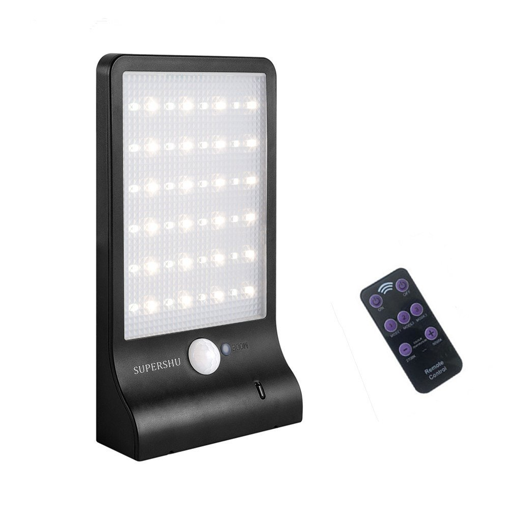 Solar Lights Outdoor Supershu 48 LED Outdoor Wall Solar Motion Sensor Lights with Remote Controller Wireless Waterproof Security Lights for Wall Deck Fence Driveway Yard Garage