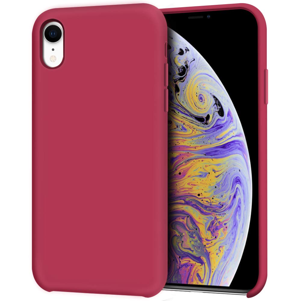 "Anuck iPhone XR Case, Anti-Slip Liquid Silicone Gel Rubber Bumper Case with Soft Microfiber Lining Cushion Slim Hard Shell Shockproof Protective Case Cover for Apple iPhone XR 6.1"" 2018 - Rose Red"