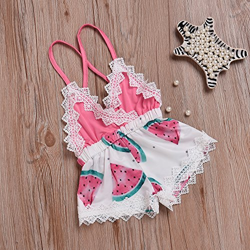 Summer Toddler Baby Girl Clothes Cute Watermelon Print Lace Trim Backless Romper Shorts Jumpsuit