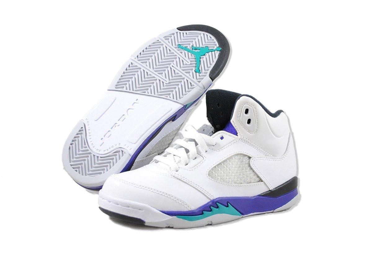 wholesale dealer 8eee6 04bb1 Amazon.com  Jordan Nike Air 5 Retro Grapes (PS) Boys Basketball Shoes  440889-108 White 1 M US  Basketball