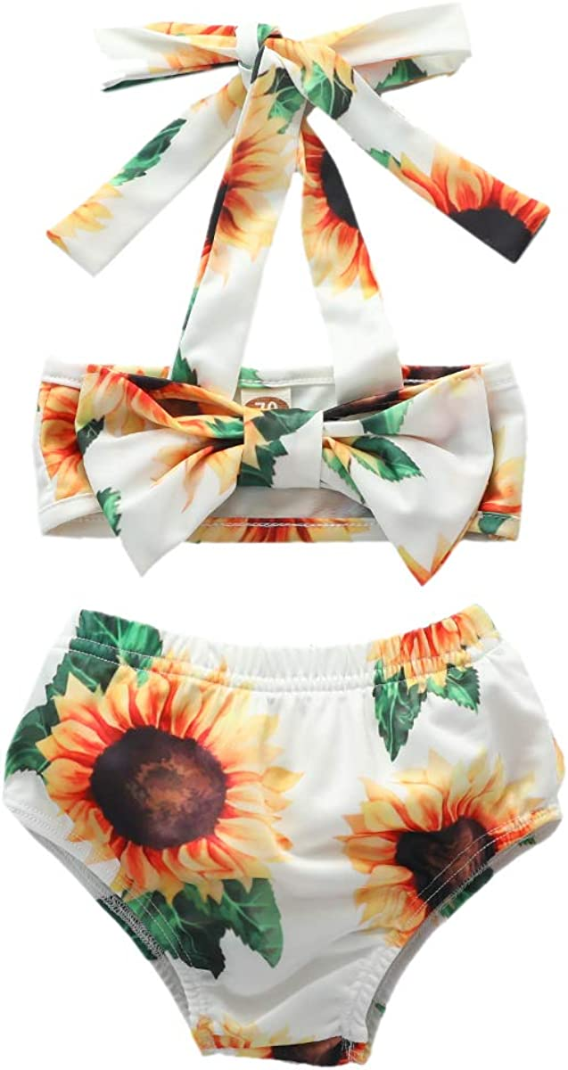 Infant Toddler Baby Girls Bikini Swimsuit Set Sunflower//Green Leaves Two Piece Bathing Suit Halter Top Summer Suit