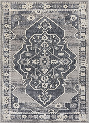 - Well Woven PE-78-5 Pearl Republic Modern Medallion Distressed Dark Grey Soft Area Rug 5'3
