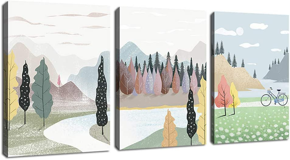 "arteWOODS Abstract Wall Art Modern Lanscape Canvas Pictures Mountain Forest Rivers Contemporary Abstract Minimalism Artwork for Girls Bedroom Bathroom Living Room Wall Decor 12"" x 16"" x 3 Pieces"