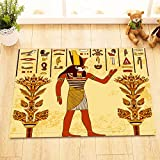 LB Ancient Egyptian Myths Mural Pharaoh Wall Painting Decoration Stylish Bath Rugs 3D 16x24 Inch Customized Personality Solar Deity Ra Outdoor Indoor Front Door Mat Non-slip Bath Mat