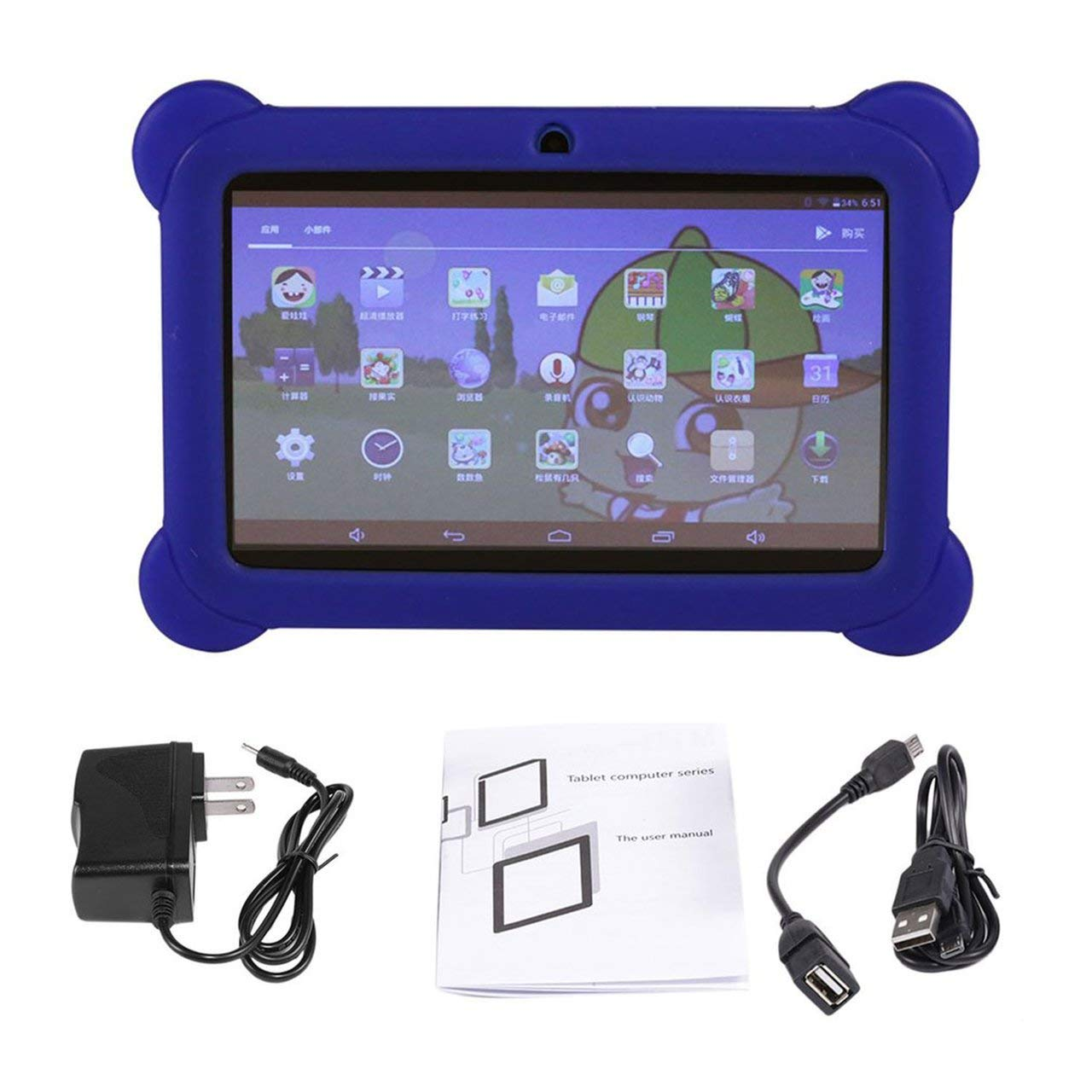 7 inch Screen Children Tablet 2G+16G A33 Quad Core Dual Camera 1024600 for Android 4.4 Tablet PC with Silicone Cover by NeanTak-us