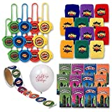 Gift Boutique Superhero Party Favors; Enough for 12 Boys or Girls; 12 Superhero Wristbands; 12 Superhero Mini Notebooks; 12 Superhero Disc Shooters; Superhero Sticker Roll + Bonus Balloon!