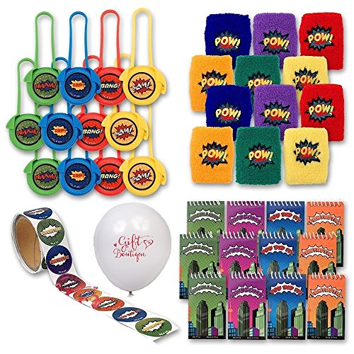 Gift Boutique Superhero Party Favors; Enough for 12 Boys or Girls; 12 Superhero Wristbands; 12 Superhero Mini Notebooks; 12 Superhero Disc Shooters; Superhero Sticker Roll + Bonus Balloon! ()