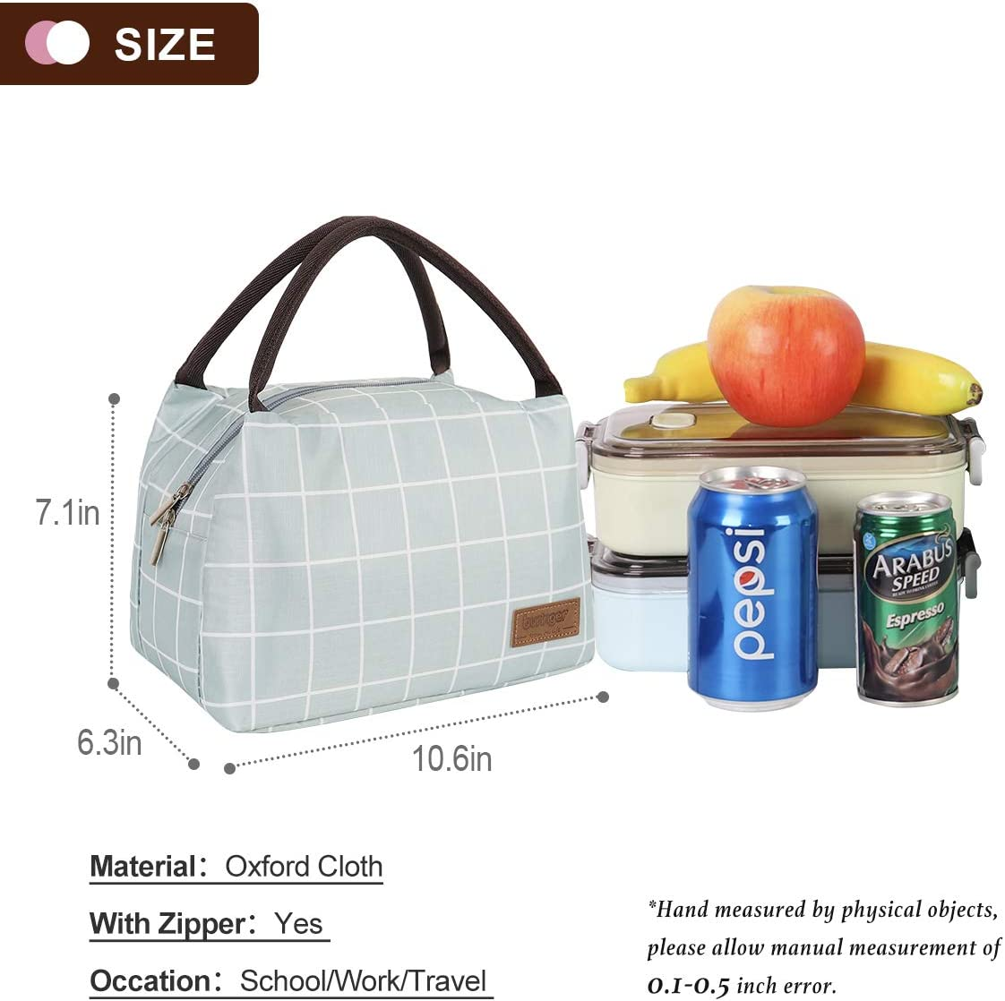 Green Buringer-Newox Reusable Insulated Lunch Bag Cooler Tote Box Meal Prep for Men /& Women Work Picnic or Travel