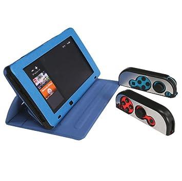 Malloom Funda De PU Cuero para Nintendo Switch, Carcasa Protectiva Antiresbalante para Nintendo Switch (Azul)