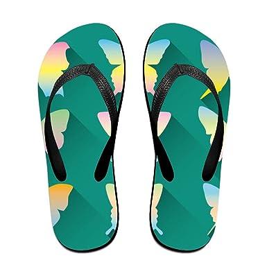 00293e38d9339 Amazon.com: Pastel Butterfly Flip Flops Sandy Flat Thong Sandals ...