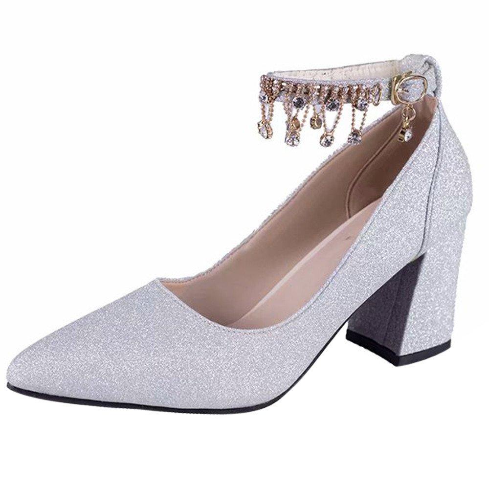 Serzul Women Comfort Platform Sandals High Heels Pumps Shoes Thick Heel Shoes Four Spointed Shoes
