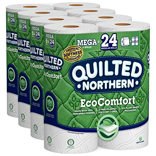 Quilted Northern EcoComfort Toilet Paper, 24 Mega Rolls 2-Ply (4 Packs of 6 Mega - Tree Paper Toilet
