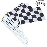 Toyvian 25 Piezas a Cuadros Banderas de poliéster