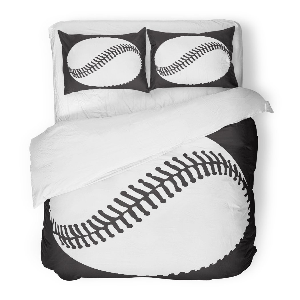 SanChic Duvet Cover Set Activity Baseball Sport Competition College Professional Team Ball Decorative Bedding Set with 2 Pillow Shams Full/Queen Size