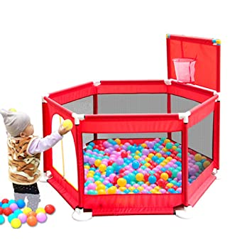 Cerca del Juego de bebé Valla Simple Arrastre niño Cerca Marina Bola Piscina Interior Patio Juguete casa (Color : Red, Size : 129 * 129 * 66cm): Amazon.es: ...