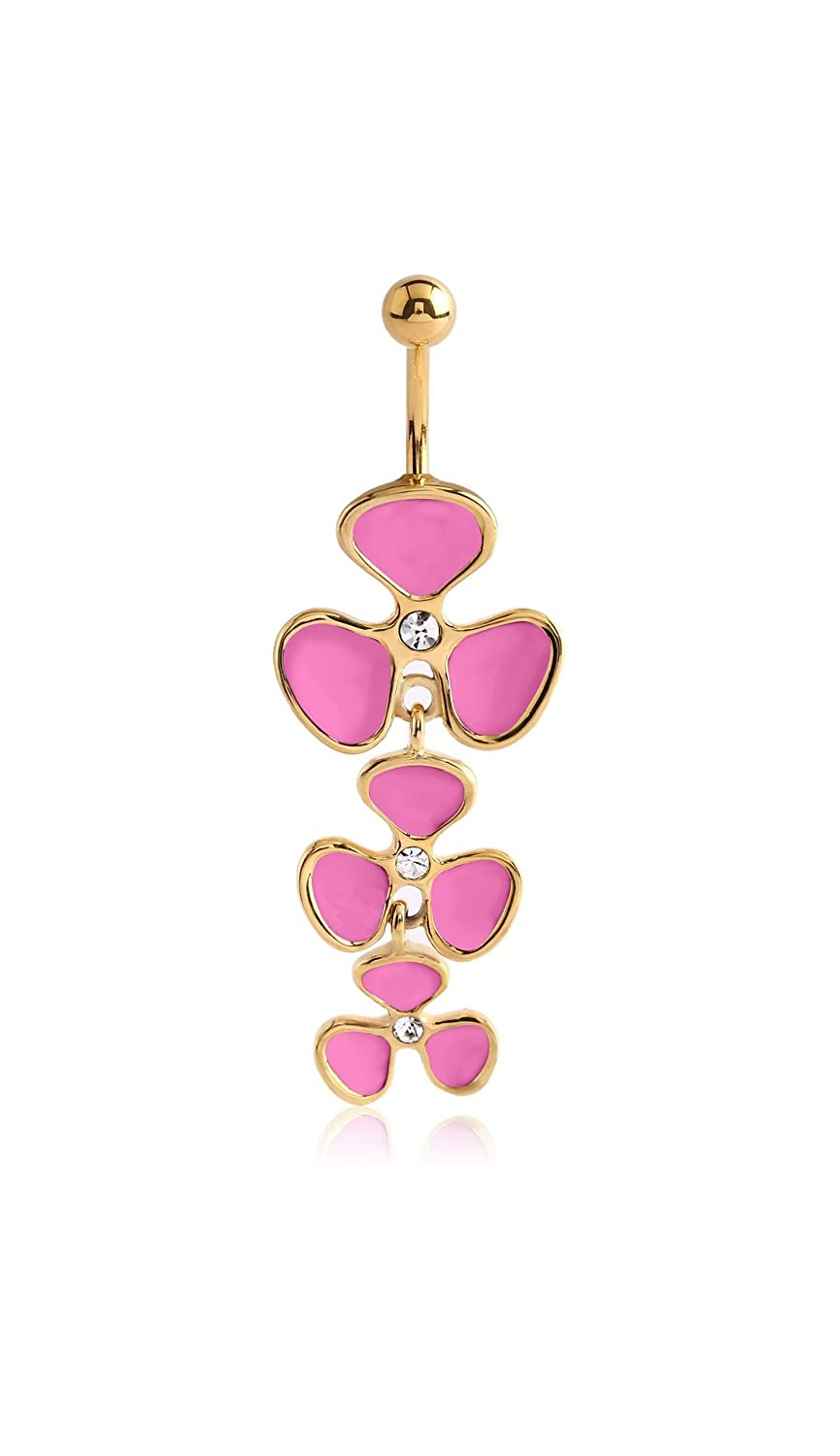 Pupick Bellybutton Ring Body Piercing Jewelry Gold Surgical Steel Jeweled Banana 14g Multiple Style