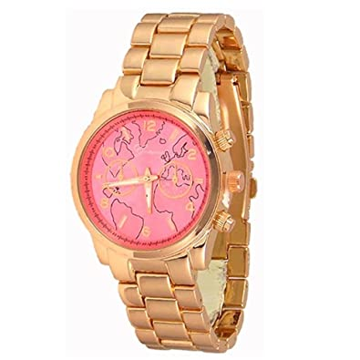 Amazon new rose gold tone pink face geneva watch world map new rose gold tone pink face geneva watch world map womens fashion bracelet gumiabroncs Images