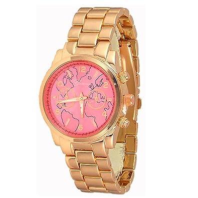 Amazon new rose gold tone pink face geneva watch world map new rose gold tone pink face geneva watch world map womens fashion bracelet gumiabroncs Image collections