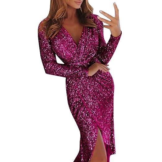 4d582d5d2b5512 dumanfs Women Sexy Deep V Sequins Wrap Party Dress