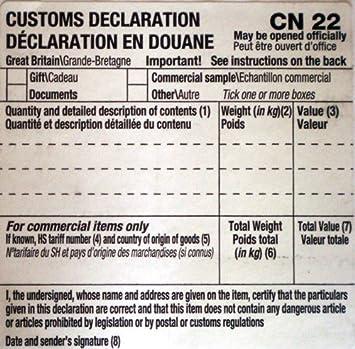 250x Auto Adhésif CN22 formule de déclaration en Douane étiquettes 54x101mm UK Royal Mail